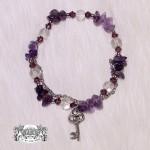 合金紫水晶鑰匙手鍊-天使能量屋